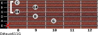 D#aug6/11/G for guitar on frets x, 10, 9, 8, 9, 8