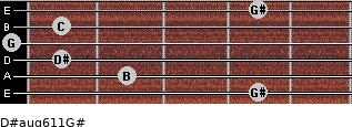 D#aug6/11/G# for guitar on frets 4, 2, 1, 0, 1, 4