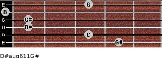 D#aug6/11/G# for guitar on frets 4, 3, 1, 1, 0, 3