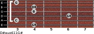 D#aug6/11/G# for guitar on frets 4, 3, 6, 4, 4, 3