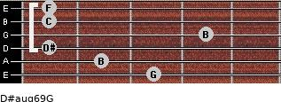 D#aug6/9/G for guitar on frets 3, 2, 1, 4, 1, 1