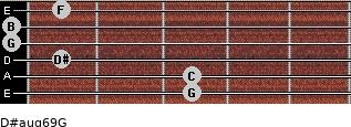 D#aug6/9/G for guitar on frets 3, 3, 1, 0, 0, 1