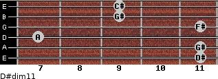 D#dim11 for guitar on frets 11, 11, 7, 11, 9, 9