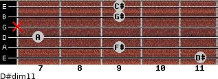 D#dim11 for guitar on frets 11, 9, 7, x, 9, 9