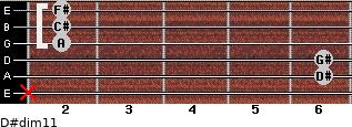 D#dim11 for guitar on frets x, 6, 6, 2, 2, 2