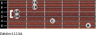 D#dim11/13/A for guitar on frets 5, 3, 1, 1, 2, 2