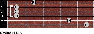 D#dim11/13/A for guitar on frets 5, 4, 1, 1, 1, 2