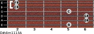 D#dim11/13/A for guitar on frets 5, 6, 6, 5, 2, 2
