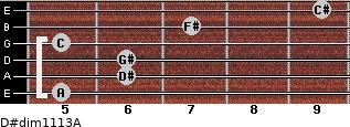 D#dim11/13/A for guitar on frets 5, 6, 6, 5, 7, 9