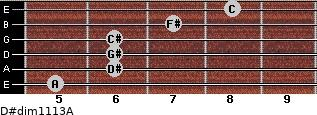 D#dim11/13/A for guitar on frets 5, 6, 6, 6, 7, 8