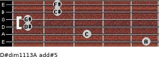 D#dim11/13/A add(#5) for guitar on frets 5, 3, 1, 1, 2, 2