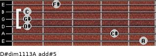 D#dim11/13/A add(#5) for guitar on frets 5, 4, 1, 1, 1, 2