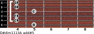 D#dim11/13/A add(#5) for guitar on frets 5, 4, 4, 5, 4, 4