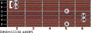 D#dim11/13/A add(#5) for guitar on frets 5, 6, 6, 5, 2, 2