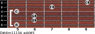 D#dim11/13/A add(#5) for guitar on frets 5, 6, 6, 5, 7, 9