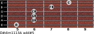 D#dim11/13/A add(#5) for guitar on frets 5, 6, 6, 6, 7, 8