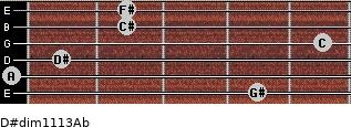 D#dim11/13/Ab for guitar on frets 4, 0, 1, 5, 2, 2