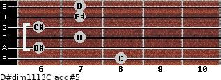D#dim11/13/C add(#5) guitar chord