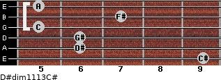 D#dim11/13/C# for guitar on frets 9, 6, 6, 5, 7, 5