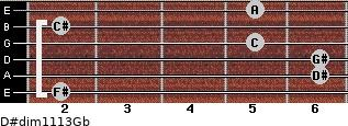D#dim11/13/Gb for guitar on frets 2, 6, 6, 5, 2, 5