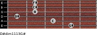 D#dim11/13/G# for guitar on frets 4, 3, 1, 2, 2, 2
