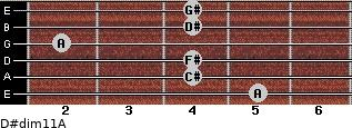 D#dim11/A for guitar on frets 5, 4, 4, 2, 4, 4