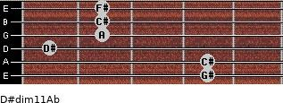 D#dim11/Ab for guitar on frets 4, 4, 1, 2, 2, 2