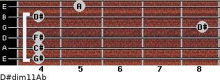 D#dim11/Ab for guitar on frets 4, 4, 4, 8, 4, 5