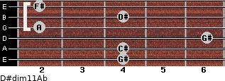 D#dim11/Ab for guitar on frets 4, 4, 6, 2, 4, 2