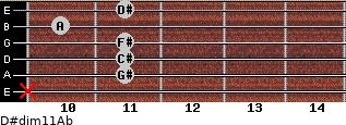 D#dim11/Ab for guitar on frets x, 11, 11, 11, 10, 11