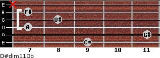 D#dim11/Db for guitar on frets 9, 11, 7, 8, 7, x