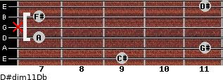D#dim11/Db for guitar on frets 9, 11, 7, x, 7, 11