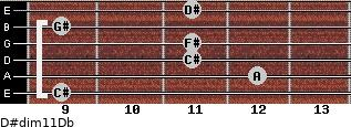 D#dim11/Db for guitar on frets 9, 12, 11, 11, 9, 11