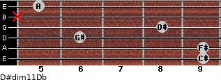 D#dim11/Db for guitar on frets 9, 9, 6, 8, x, 5