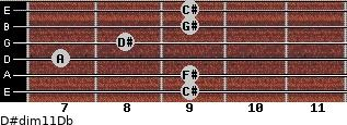D#dim11/Db for guitar on frets 9, 9, 7, 8, 9, 9