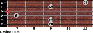 D#dim11/Db for guitar on frets 9, 9, 7, x, 9, 11