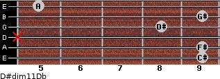 D#dim11/Db for guitar on frets 9, 9, x, 8, 9, 5