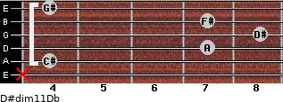 D#dim11/Db for guitar on frets x, 4, 7, 8, 7, 4