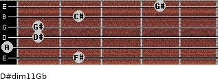 D#dim11/Gb for guitar on frets 2, 0, 1, 1, 2, 4