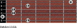 D#dim11/Gb for guitar on frets 2, 0, 1, 1, 2, 5