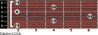 D#dim11/Gb for guitar on frets 2, 4, 6, 2, 4, 2