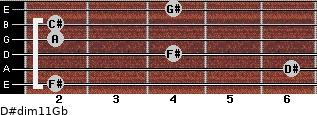 D#dim11/Gb for guitar on frets 2, 6, 4, 2, 2, 4