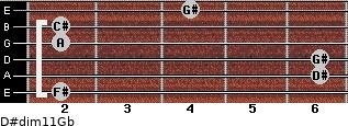 D#dim11/Gb for guitar on frets 2, 6, 6, 2, 2, 4