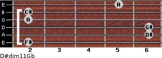 D#dim11/Gb for guitar on frets 2, 6, 6, 2, 2, 5