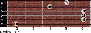 D#dim11/Gb for guitar on frets 2, 6, 6, 6, 4, 5