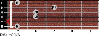 D#dim11/A for guitar on frets 5, x, 6, 6, 7, 5