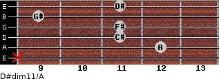 D#dim11/A for guitar on frets x, 12, 11, 11, 9, 11