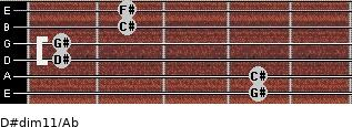 D#dim11/Ab for guitar on frets 4, 4, 1, 1, 2, 2
