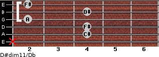D#dim11/Db for guitar on frets x, 4, 4, 2, 4, 2