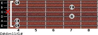 D#dim11/G# for guitar on frets 4, 4, 7, x, 7, 4